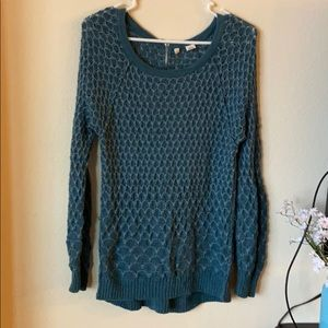 Anthropologie Moth Teal/Aqua Knit Sweater Zipper